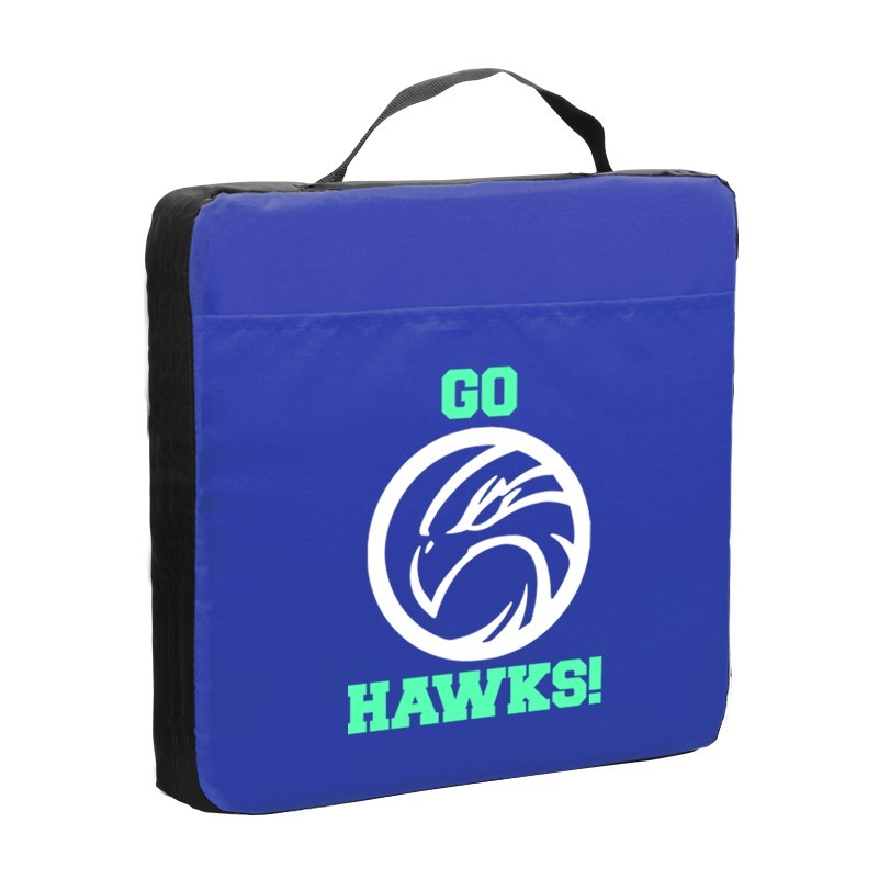 "Let Your Company Logo Fill Stadium Seats with the Custom 14"" x 2"" thick Fabric Stadium Cushion"