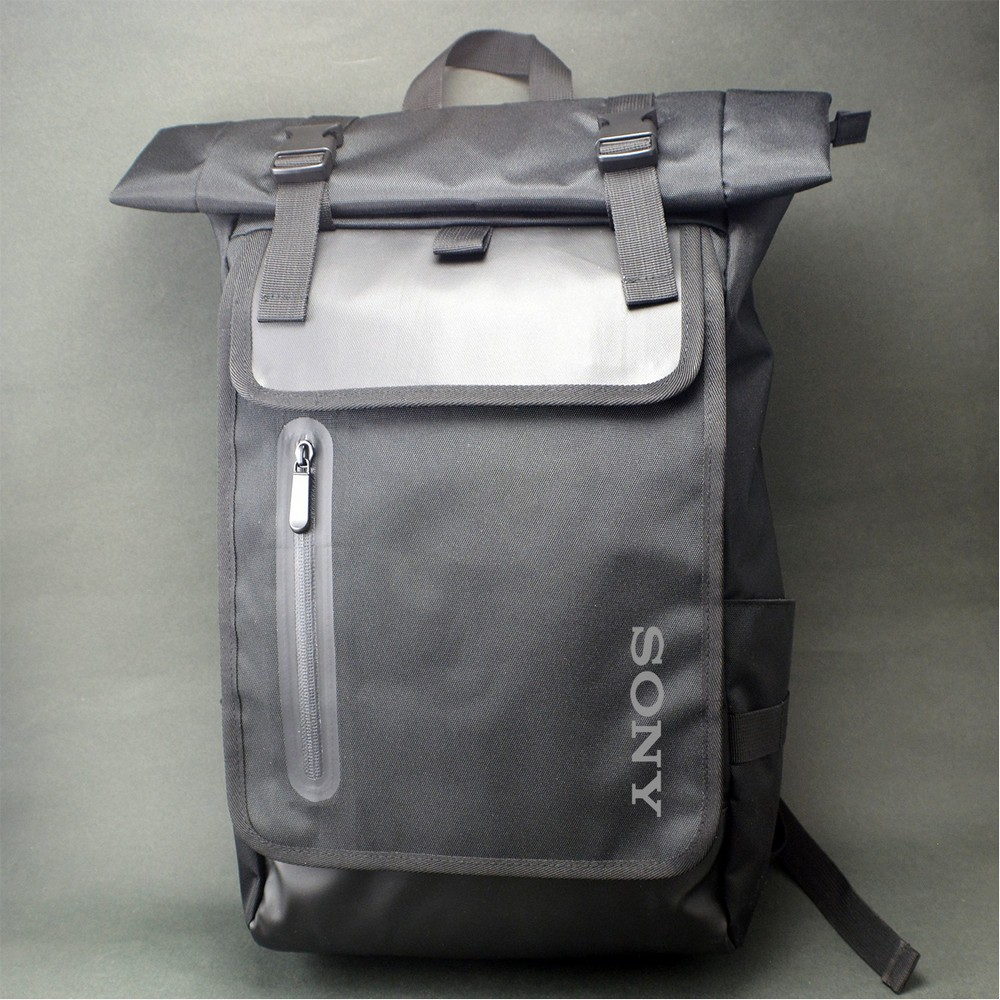 Promotional Eugene Roll-Top Laptop Backpack Keeps Customers Laptops Protected While Looking Sporty